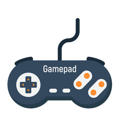 gamepad flat icon console and joystick vector image