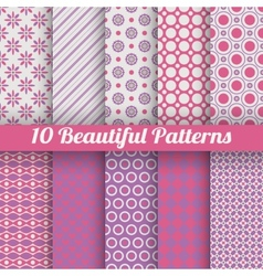 10 Beautiful seamless patterns tiling Pink purple vector image vector image