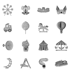 Amusement park icons set black monochrome style vector image