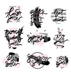 set of flat design sale stickers vector image