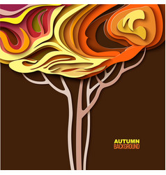 autumn tree abstract paper cut design vector image vector image