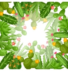 Cactuses and plants abstract natural background vector image vector image