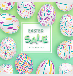 Easter background with 3d ornate eggs on green vector