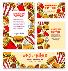 fast food american restaurant banner template set vector image vector image