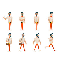 hipster geek hipster in different poses mobile vector image vector image