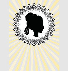 lady head silhouette black profile in ornate vector image