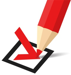 Pencil making a tick in checkbox vector image