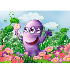 A garden with a three-eyed monster vector image