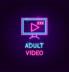 Adult video neon label vector