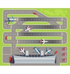 Airport with passenger terminal airplanes vector