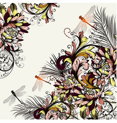 Beautiful floral background with colorful swirls vector