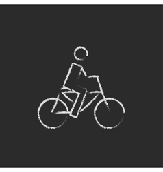 Bike and cyclist icon drawn in chalk vector image