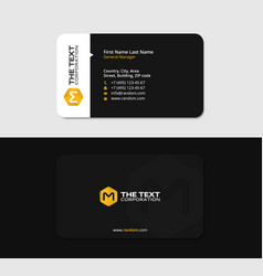 black business card with the yellow letter m vector image
