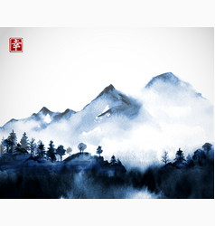Blue wild forest trees and mountains in fog hand vector