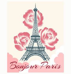 Bonjour or hello paris retro poster vector