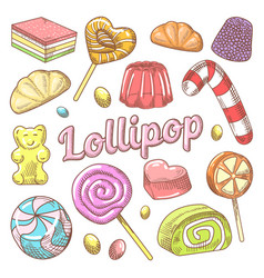 Candy and lollipops hand drawn doodle vector