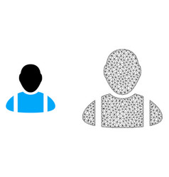 Carcass mesh worker and flat icon vector