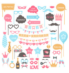 cartoon photo booth props elements for wedding vector image
