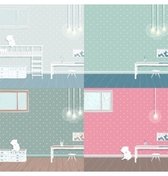 Children room background set vector image