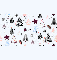 christmas tree background ornaments winter vector image