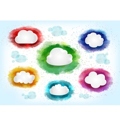 Clouds with watercolor splatters vector image