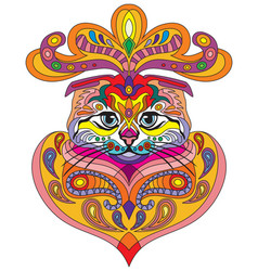Colorful ornamental cat 1 vector