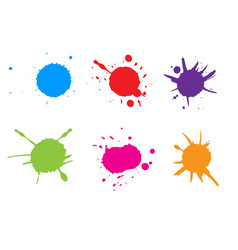 Colorful paint splatterpaint splash set vector