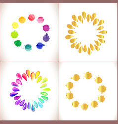 Colorful watercolor and gold splashes isolated on vector