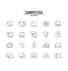 computer and technology line icons vector image
