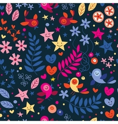 Cute birds flowers stars and hearts pattern vector