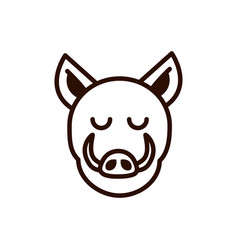 cute face wild boar animal cartoon icon thick line vector image