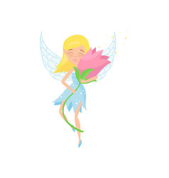cute fairy flying with beautiful pink flower in vector image