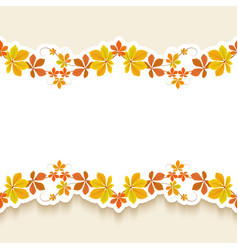 cutout paper frame with autumn leaves vector image