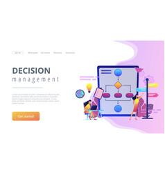 Decision management concept landing page vector
