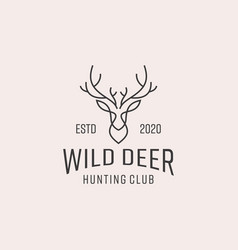 deer lineart logo design template vector image