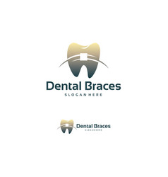 Dental braces shop logo template healthy vector
