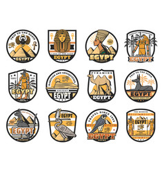 Egyptian culture history religion icons vector