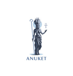 Egyptian goddess anuket ankh feathers vector