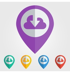flat pin with cloud download icon vector image