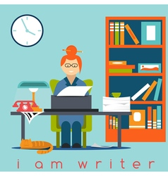 freelancer writer girl flat design concept vector image