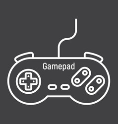 Gamepad line icon console and joystick vector