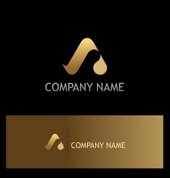 Gold letter a water drop logo vector
