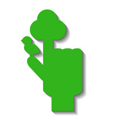 Green hand with pointed finger with symbolic tree vector