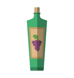 Green wine bottle grape cork sticker shadow vector