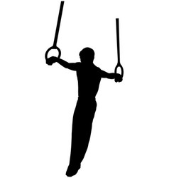 Gymnastics rings cross athlete vector