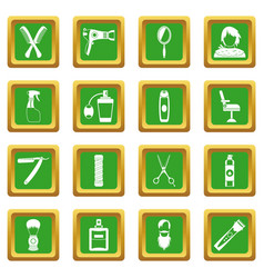 Hairdressing icons set green vector
