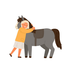 Happy little girl hugging pony flat vector