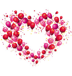 Heart from balloons color glossy balloons vector