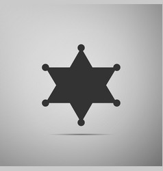 Hexagram sheriff star badge flat icon on grey vector