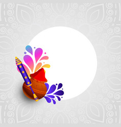 Holi colors and pichkari festival card design vector